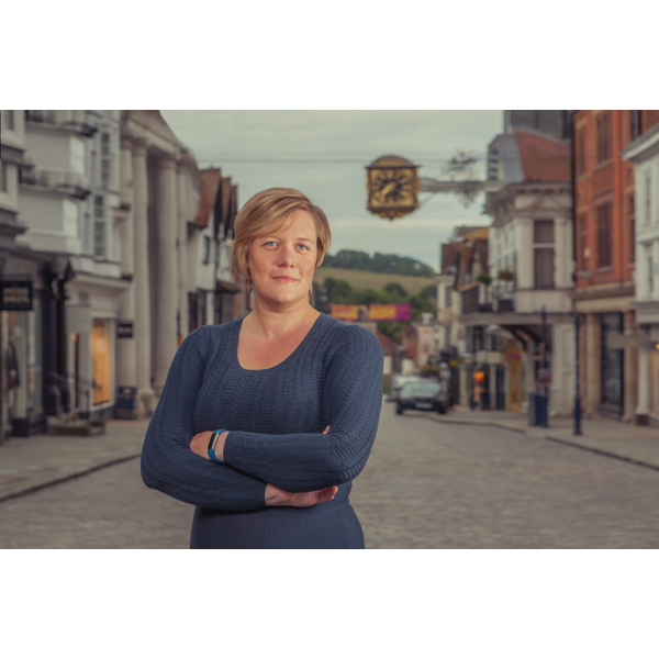 Zoe Franklin standing on Guildford High Street
