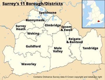 Surrey's 11 Districts/Boroughs