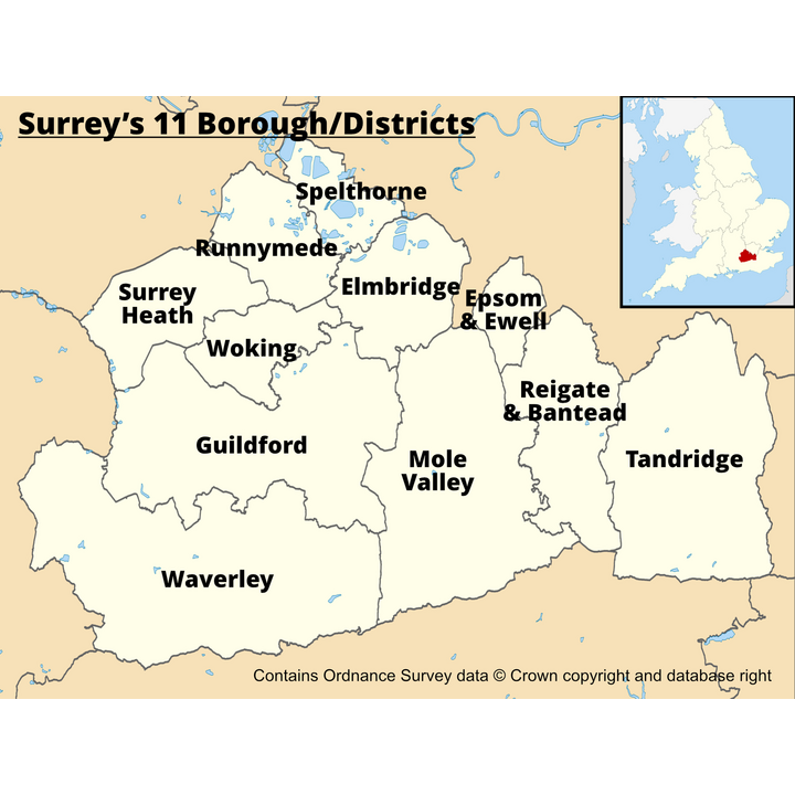 Surrey's 11 Districts/Boroughs