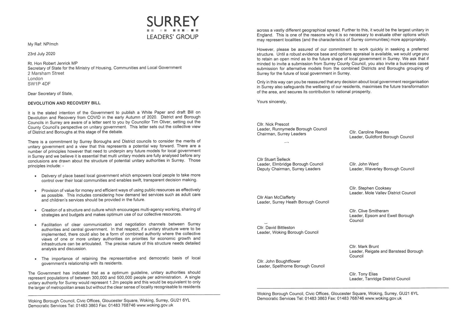 Surrey Leaders' letter re Single Surrey Unitary Authority
