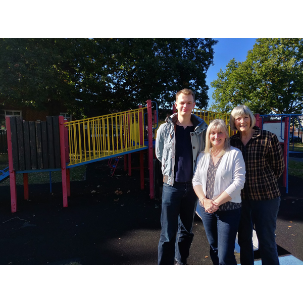 Cllrs Julia McShane, James Steel & Fiona White at King's College Play Park