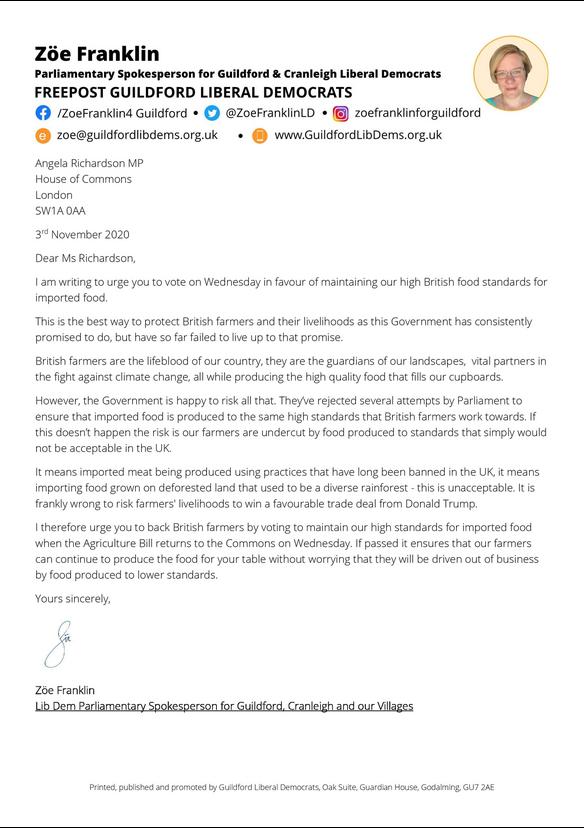 Back British Farming letter to AR