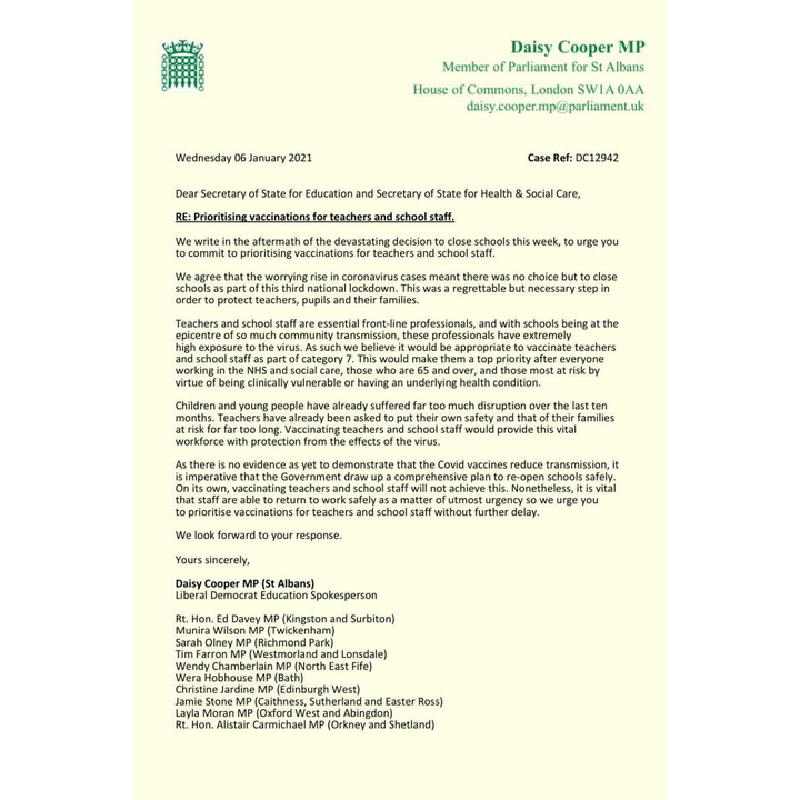 D Cooper MP School Staff Vaccination Letter 7.1.21