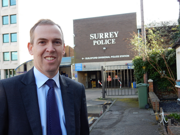 Paul Kennedy outside Guildford Police Station